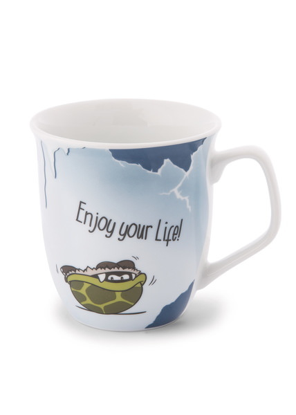Porcelain mug Stone Age Friends 'Enjoy your life'