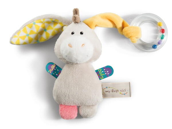 Cuddly toy donkey Muli with ring-rattle