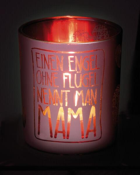 "Tealight glass ""Mama"" in display"