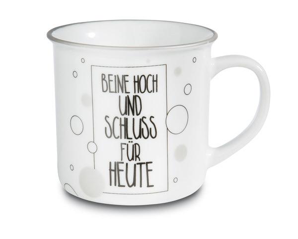 Porcelain mug metallic 'Beine hoch und Schluss für heute'