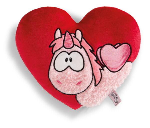 Herzförmiges Kissen mit Einhorn Merry Heart