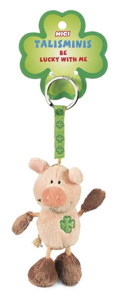 Schlüsselanhänger Schwein rosa-braun