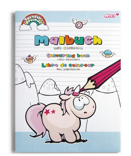 Sticker-Malbuch DIN A4 Einhorn Theodor