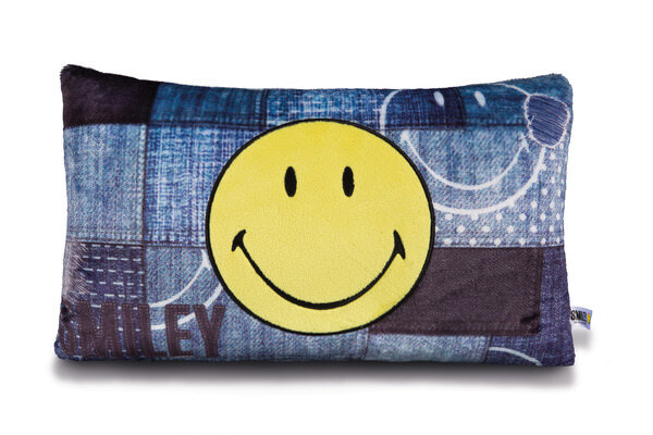 Rechteckiges Kissen Smiley im Jeans-Look