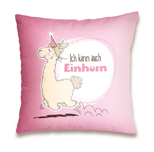 """Baumwollkissen Lama """"Ich kann auch Einhorn"""""""