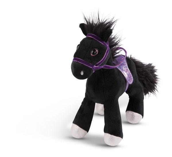Stehendes Kuscheltier Pferd Black Cassis mit Zaumzeug und Sattel