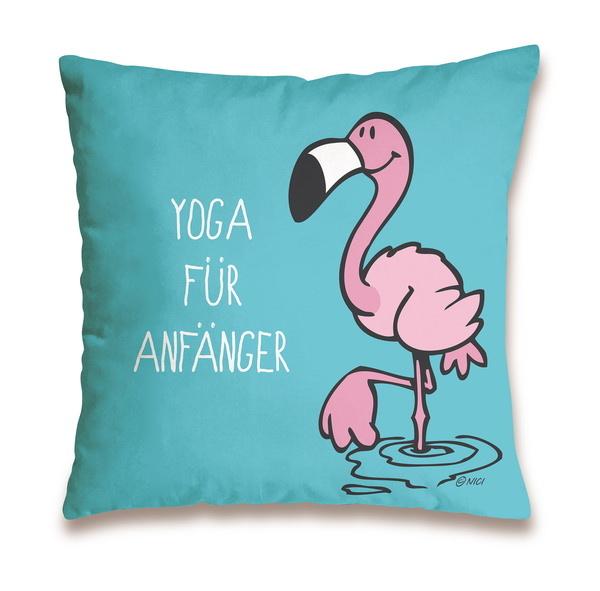 """Baumwollkissen Flamingo """"Yoga für Anfänger"""""""