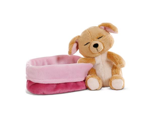 Kuscheltier Hund im pink-lila Körbchen