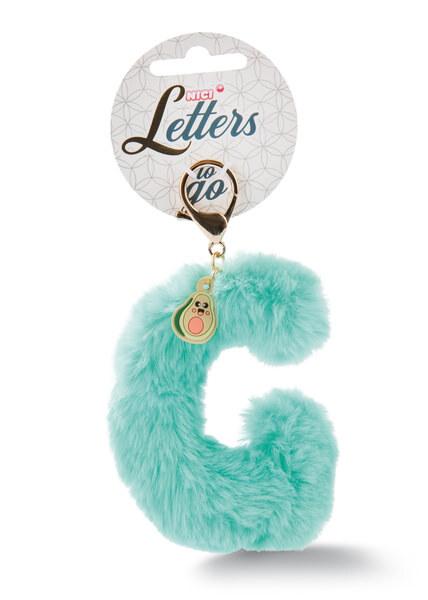Plush bag pendant letter G with avocado