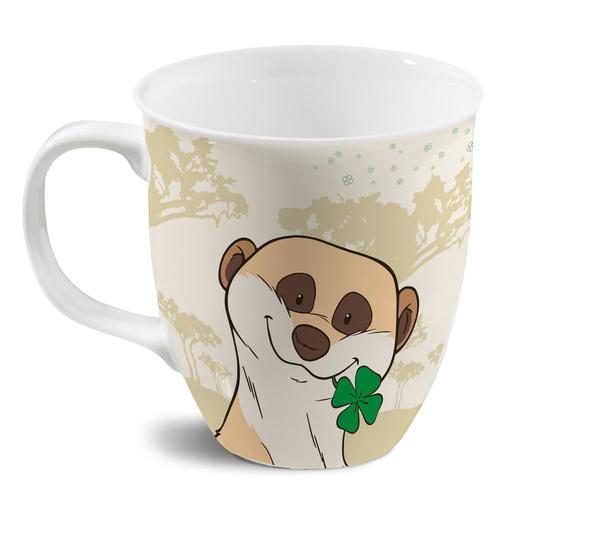 Porcelain mug meerkat with cloverleaf