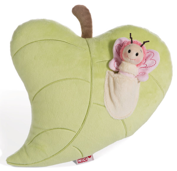 Figural cushion leaf with butterfly