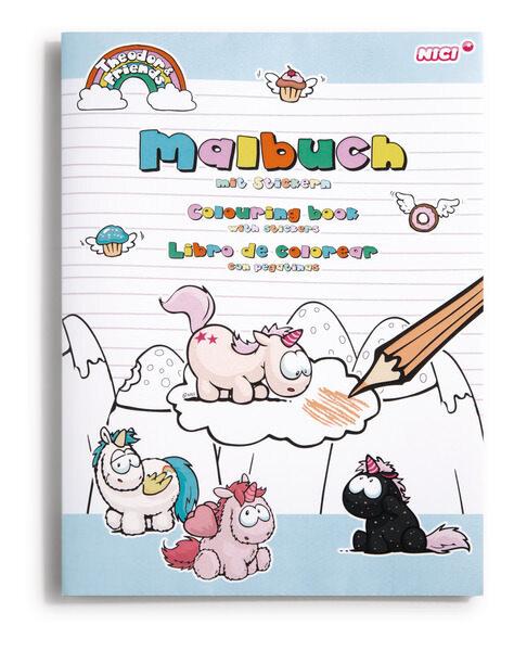 Sticker-Malbuch DIN A4 Einhorn Theodor mit Freunden