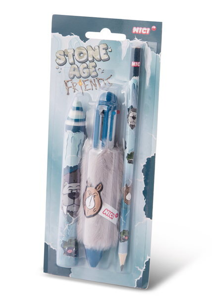 Pencil Set Stone Age Friends, in Display