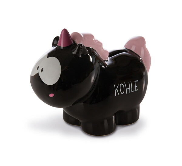 "Spardose Einhorn Carbon Flash ""Kohle"""