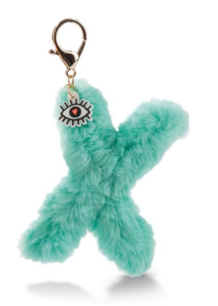 Plush pocket pendant letter X with eye