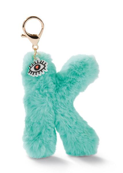 Plush bag pendant letter K with eye