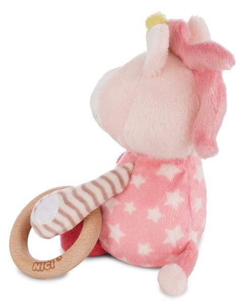 Cuddly toy unicorn Stupsi with wooden ring and bell