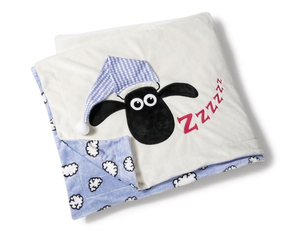 Plüschdecke Shaun das Schaf mit Schlafmütze