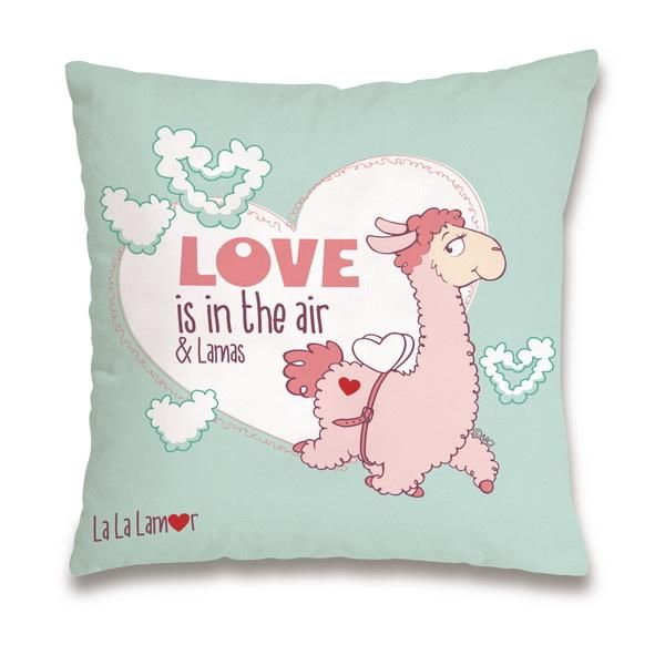 "Baumwollkissen Lama ""Love is in the air"""