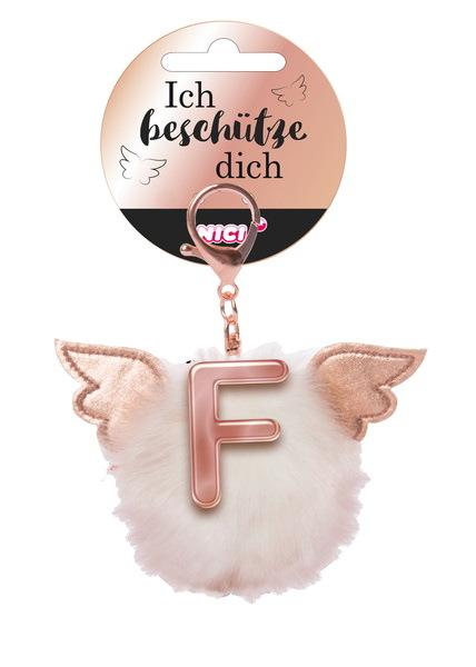Bag pendant Angel PomPom letter F