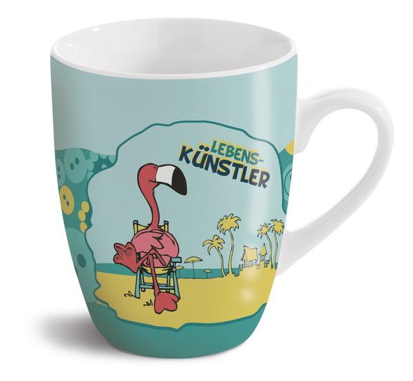 "Porzellantasse Flamingo ""Lebenskünstler"""