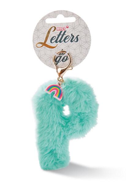 Plush bag pendant letter P with rainbow