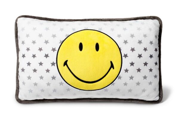 Rechteckiges Kissen mit Smiley und Sternen