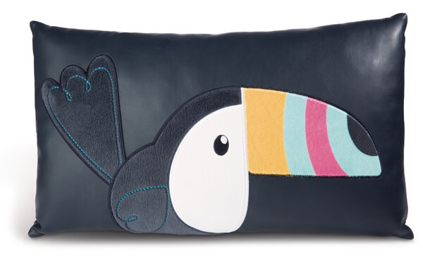 Rectangular cushion Toucan imitation leather with plush applications