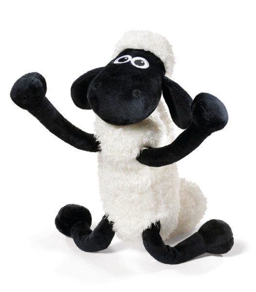 Standing cuddly toy Shaun the Sheep with bendable joints