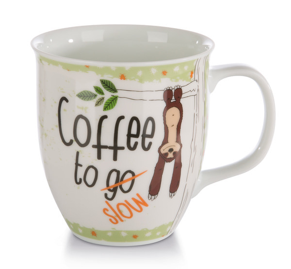 "Porzellantasse Faultier ""Coffee to slow"""