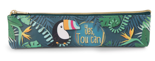 Mini pencil case toucan made of imitation leather