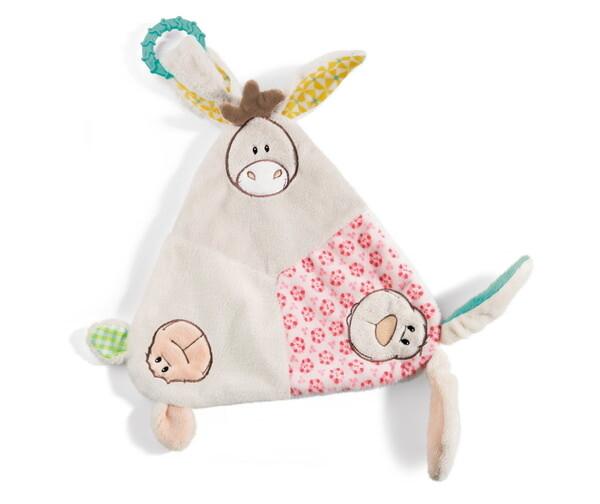 Dreieck-Schmusetuch mit Hase, Lamm und Esel