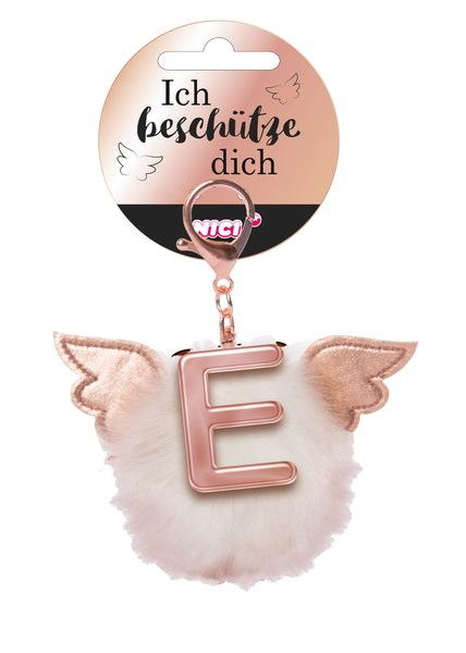 Bag pendant Angel PomPom letter E