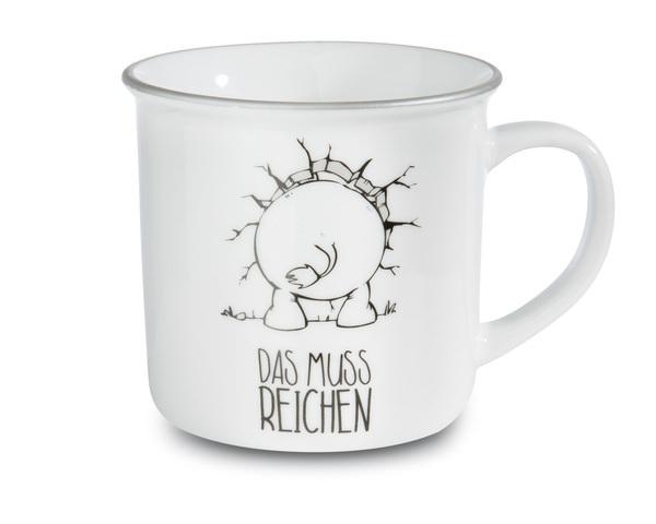 Porcelain mug metallic 'Ich bin hier, das muss reichen'