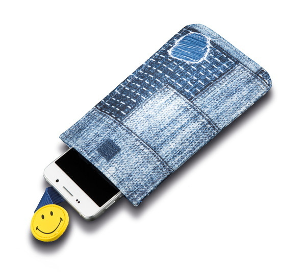 Smartphone sleeve Smiley in jeans-look