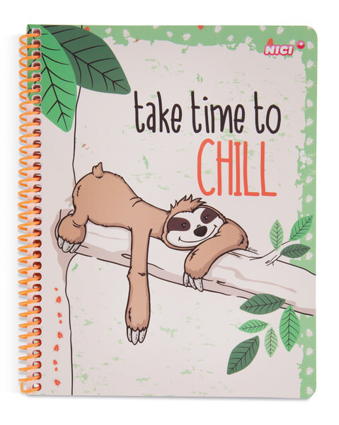 "DIN A5 Spiralblock Faultier ""Take time to chill"""