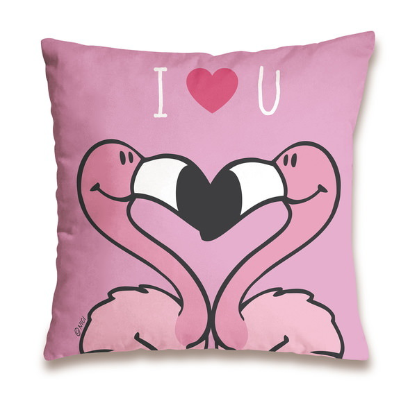 "Cotton cushion flamingo""I love you"""