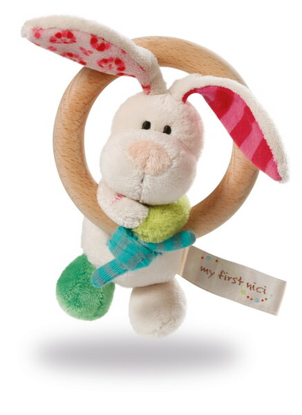 Greifling Hase Tilli mit Holzring und Glocke