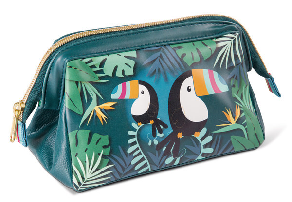 Cosmetic bag toucan made of imitation leather