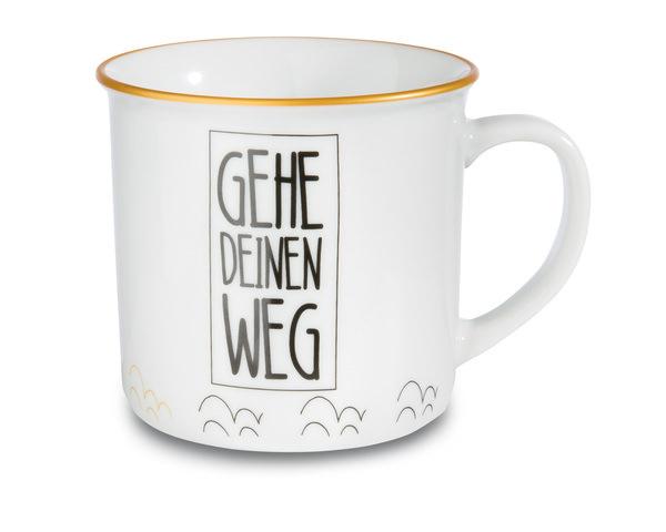 """Porzellantasse metallic """"Gehe Deinen Weg"""""""