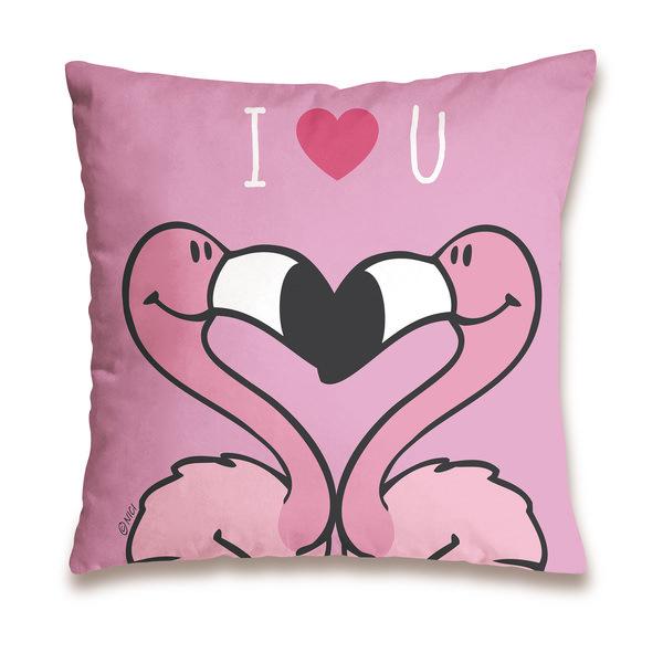 "Baumwollkissen Flamingo ""I love you"""