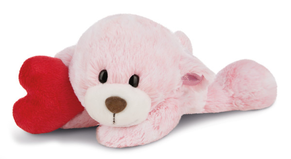 Lying cuddly toy Love bear girl with heart