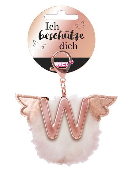 Bag pendant Angel PomPom letter W