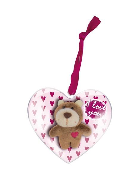Pendant bear with elastic loop in gift heart