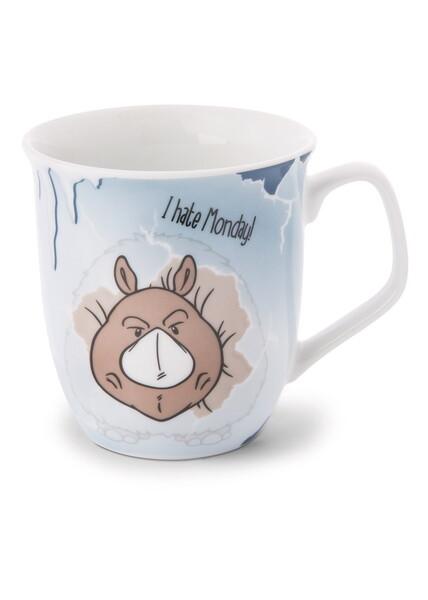 Porcelain mug Stone Age Friends 'I hate Monday'