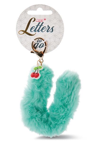 Plush bag pendant letter U with cherry