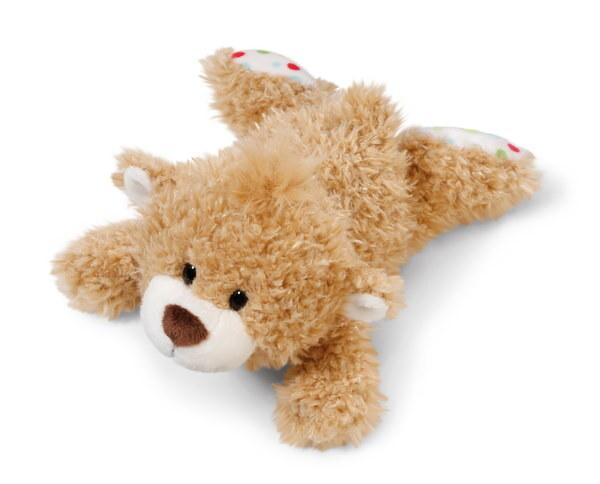Liegendes Kuscheltier kleiner Bär hellbraun