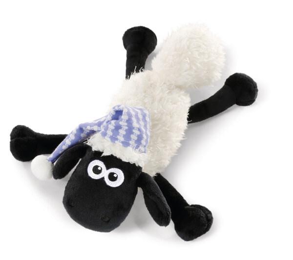 Liegendes Kuscheltier Shaun das Schaf mit Schlafmütze