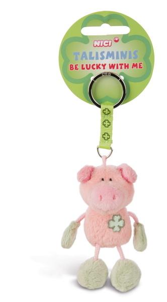 Schlüsselanhänger Schwein rosa-grün