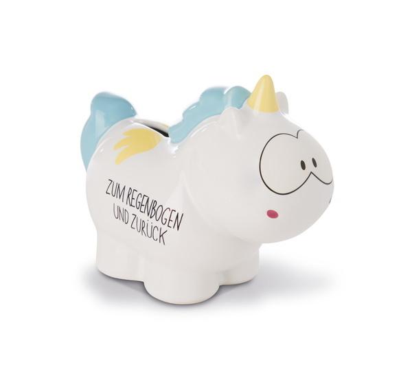 """Savings box unicorn Rainbow Flair """"Zum Regenbogen und zurück"""""""